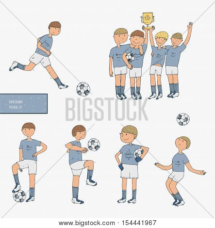 Hand drawn vector illustration with soccer players isolated on white background. Football stuff happy winning team training boys in uniform. Imperfect image drawn in doodle style