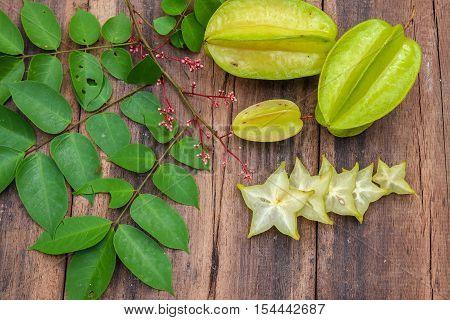 Star fruit on wood background ,starfruit on wooden background