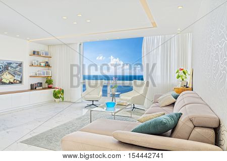 Modern Luxury Interior Design Of Living Room With Sea View From A Window