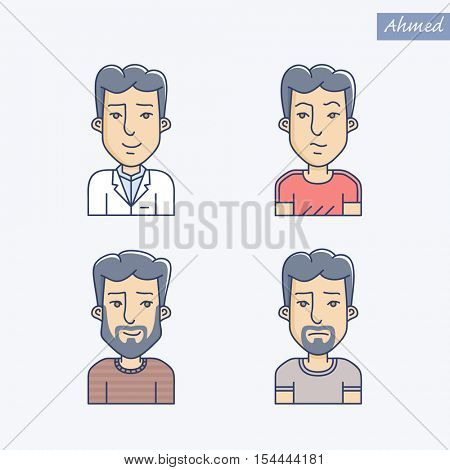 Set of different man face expressions. Icon set of vector linear boy avatar. Man face expression avatar icon. Vector linear illustration of young man