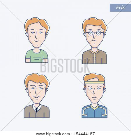 Set of different man face expressions. Icon set of vector linear boy avatar. Man face expression avatar icons. Vector linear illustration of young man