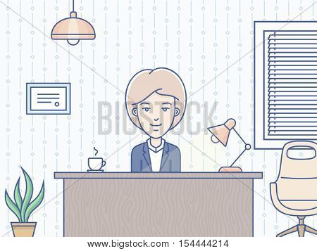 Woman sitting at the table and working in the office. Vector illustration