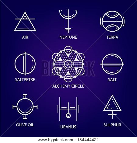 Big Set of geometric shapes. Trendy hipster icons and logos. Religion, philosophy, spirituality, occultism symbol collection