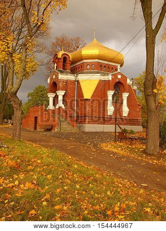 Orthodox chapel. Lodz, Poland October 29, 2016 Orthodox chapel P.W. Dormition of the Virgin Mary at the Orthodox cemetery in Lodz.