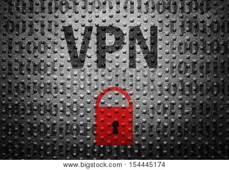 VPN text over binary with red lock symbol -- Virtual Private Network or Internet security concept
