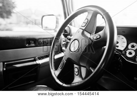 Hai, Ukraine - October 20, 2016: Hummer H2 Steeering Wheel