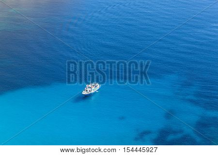 Cruise ship. Big cruise ship in an open blue Mediterranean sea.