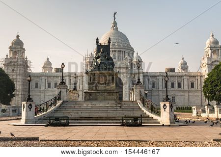 Beautiful Victoria Memorial architectural building monument and museum at Kolkata built in the memory of Queen Victoria.