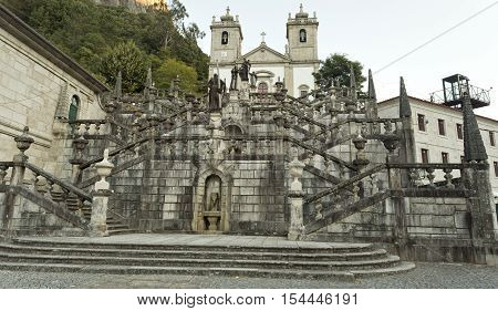 View of the magnificent Steps of the Virtues leading to the church of the Sanctuary of Our Lady in the Peneda Geres National Park North of Portugal