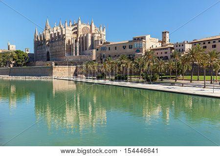 Santa Maria of Palma Cathedral. Panoramic view of La Seu Cathedral in Palma de Mallorca Spain.