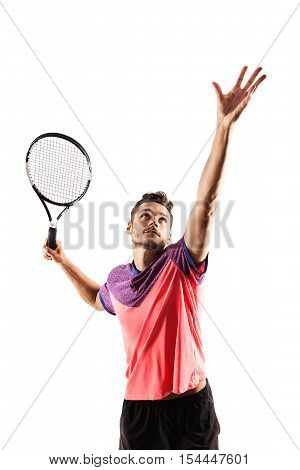 Male tennis player with racket ready to hit a tennis ball isolated on white