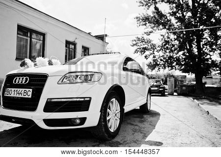 Hai, Ukraine - October 20, 2016: Audi Q7 Wedding Cortege
