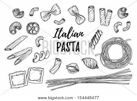 Hand Drawn Vector Illustration - Italian Pasta. Different Kinds Of Pasta. Design Elements In Sketch