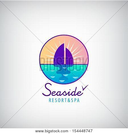 Vector seaside, sailboat in the sea, sunset, horizon logo. Resort, weekend holidays logotype