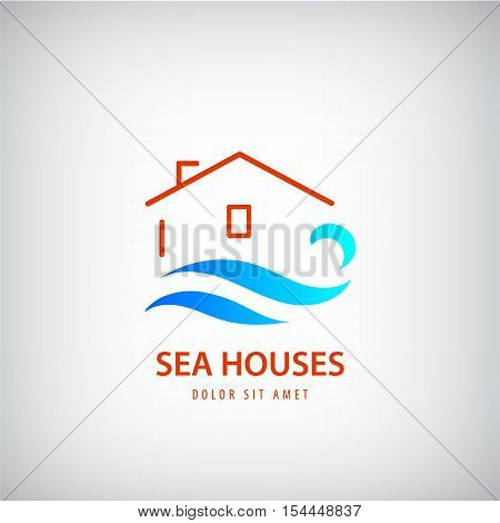Vector house logo with blue wave. Rent house near sea. holidays, beach sign. Line building and water logotype