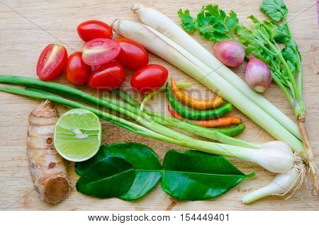 Thai herbs ingredient group for soup or Tom yum(as known in Thailand)