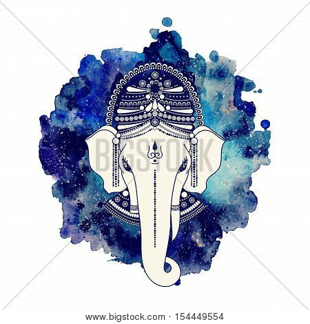 Ganesha, or Ganapati, Indian deity in the Hindu. On watercolor paint background. Vector illustration for design of prints, web, festive, Chaturthi invitations.