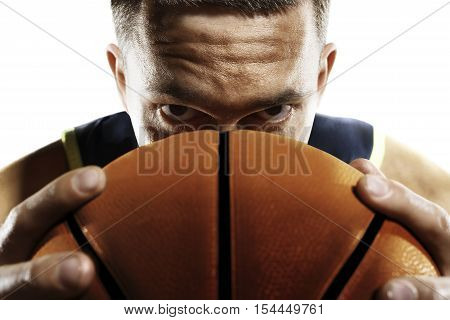 Streetball player is isolated on white close-up