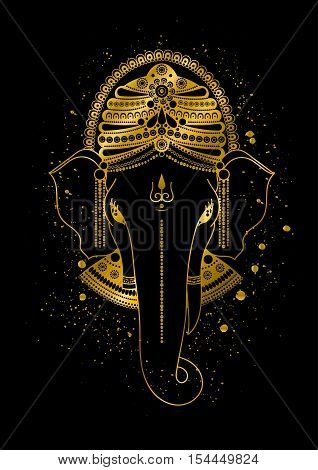 Golden Ganesha, or Ganapati, Indian god in the Hindu. Gold color splash. Vector hand drawn illustration for design of prints, web, festive, Chaturthi invitations.