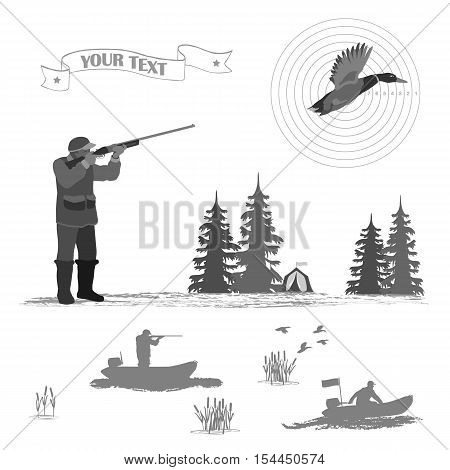 A man stands and shoots from a rifle. trees and tents. flying duck. A rubber boat ride men.