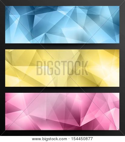 Set Of Crystal Abstract Geometric Web Banners
