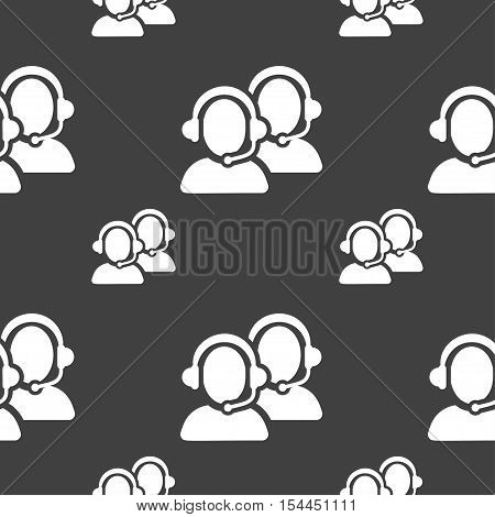 Call Center Icon Sign. Seamless Pattern On A Gray Background. Vector