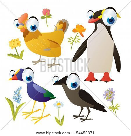 vector cute colorful cartoon isolated birds and flowers illustrations collection: hen, emperor penguin, sultan, jackdaw