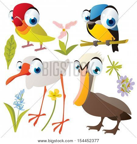 vector cute colorful cartoon isolated birds and flowers illustrations collection: tomtit, lovebird, pelican, ibis crane