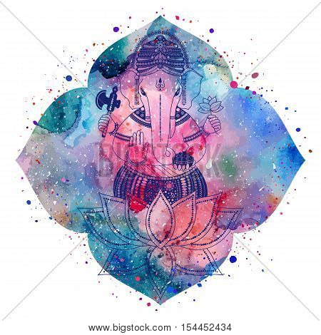Ganesha, or Ganapati, Indian deity in the Hindu. Silhouette on a watercolor lotus flower with paint splash. Vector illustration for design of prints, web, festive, Chaturthi invitations.