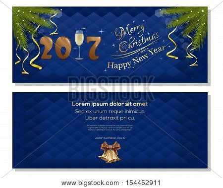 Merry Christmas and a Happy New Year 2017. Dark blue christmassy backgrounds with fir branches, ribbons, bows and jingle bells. Christmas greeting card