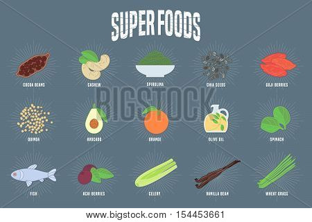 Set of superfoods products, berries, roots in vector. Icons, design elements, illustrations of cocoa beans, goji berry, acai seeds, wheatgrass, spinach for super food vegetarian eating concept