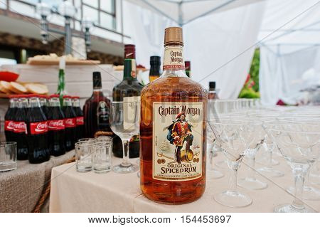 Hai, Ukraine - October 25, 2016: Large Bottle Of Captain Morgan Rum On The Buffet Table