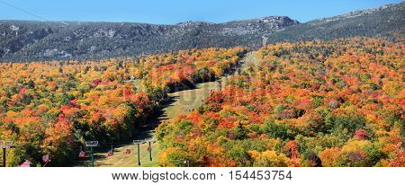 Stowe Vermont - October 7, 2016: Mount Mansfield gondola sky ride in Autumn, Stowe, Vermont, USA.