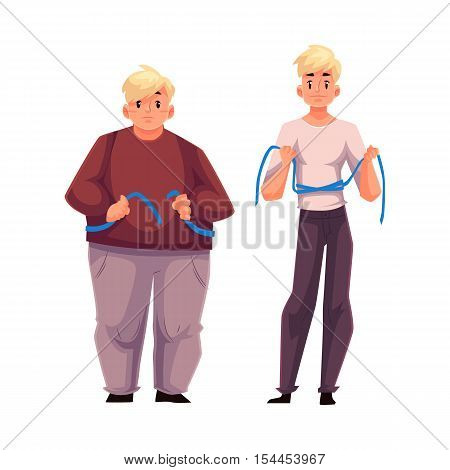 Fat and fit men measuring waist with a tape, before and after loosing weight, cartoon vector illustration isolated on white background. Overweight and athletic young men measuring themselves