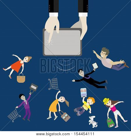 to the hand from the device fly buyers with baskets, office workers, young women, school-age child with a dog. Business dynamics concept