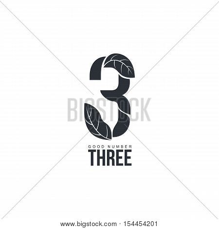Black and white leaf silhouette organic number three logo template, vector illustration isolated on white background. Black and white number three graphic logotype template for natural products