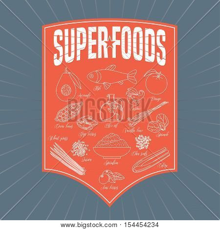 Set of superfoods products, berries, fruits, vegetables in vector. Icons, design elements, web banner of cocoa beans, goji berry, acai seeds, spirulina, quinoa for super food wellness