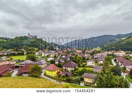 View of Strassburg village with castle on the hill Carinthia Austria