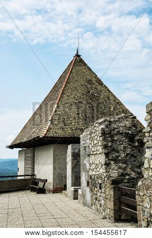 Ruin castle of Visegrad Hungary. Detail photo of ancient architecture. Travel destination. Cultural heritage.