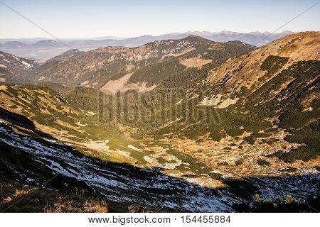 Valley in the Low Tatras mountains Slovak republic. Hiking theme. Mountains scene.