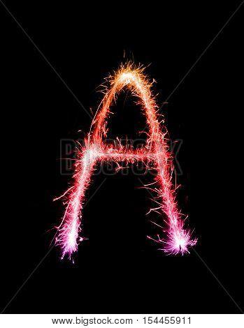 Sparkler Firework Light Alphabet A (capital Letters) At Night