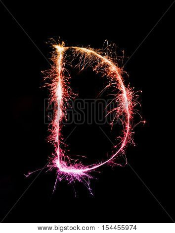 Sparkler Firework Light Alphabet D (capital Letters) At Night