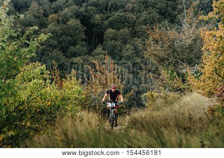 Privetnoye Russia - September 22 2016: male rider cyclist riding uphill among woods and grass during Crimean race mountainbike