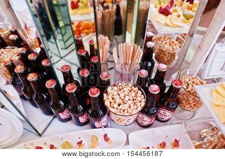 Hai, Ukraine - October 25, 2016: Sagres Mini Beer Bottles, Best Selling Portuguese Beers