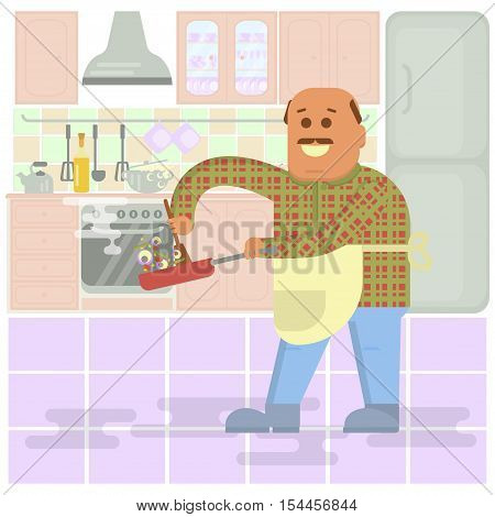 Fat bald man with frying pan in hand cooking . Isolated on kitchen interior background.  Vector flat design illustration. Square layout.