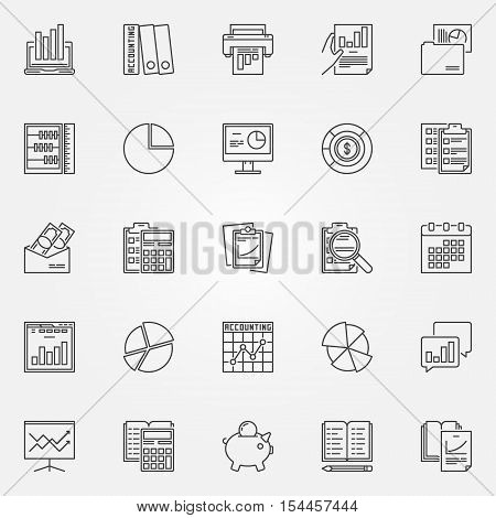 Accounting icons set. Vector analytics and research symbols in thin line style. Financial accounting, charts and graphs concept signs