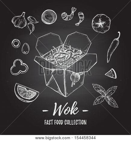 Hand Drawn Vector Illustration - Wok. Wok Box, Chinese Noodles, Tomato, Pepper, Shrimp, Olive, Basil