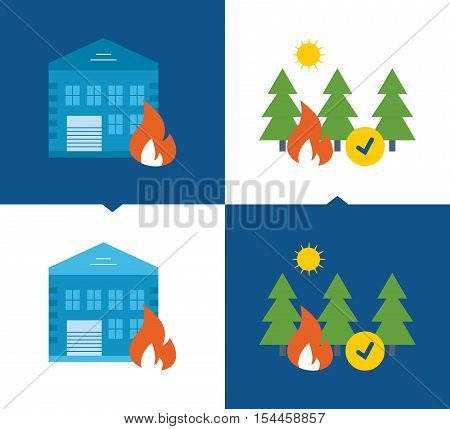 Concept of illustration - protection and security of property and forests from fires, home insurance and property. Vector illustrations on a light and dark background.
