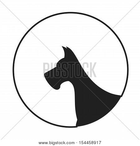 Silhouette of a dog head great dane. Animal pedigreed companion, vector illustration