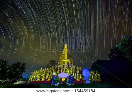 Startrail over 500 pagodas at Paswangboon temple Saraburi Thailand. (In Thailand Buddhist temples are all public domain)